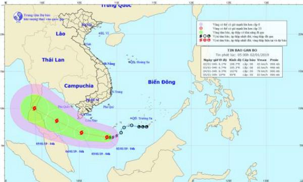 Bão số 1 cách đất liền các tỉnh Nam Bộ khoảng 460km